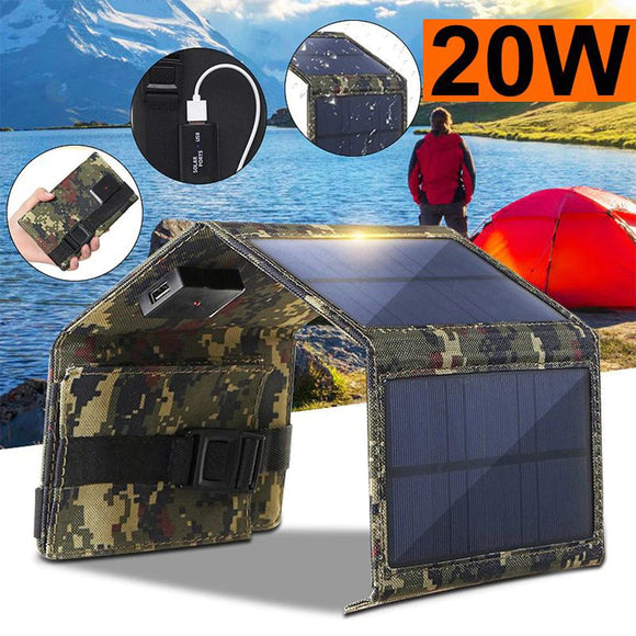 Foldable 20W USB  Waterproof Solar Mobile  Battery Charger