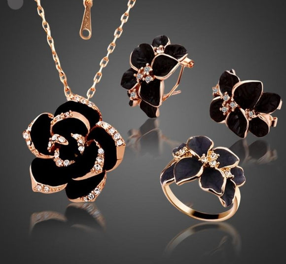 Fashion Rose Flower Enamel Necklace/Earrings Jewelry Set