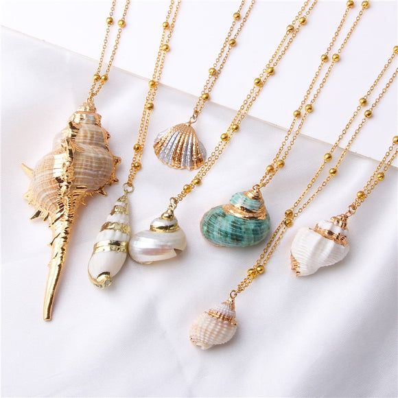 Bohemian Conch Shells Necklace Sea Beach Shell Pendant Necklace For Women