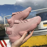 Mesh Flat Lace Up Stretch Fabric Platform  women's Casual Shoes