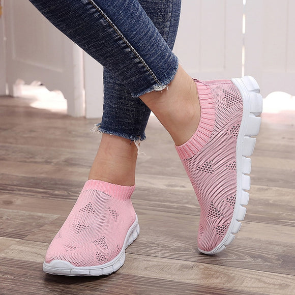 plus size breathable air mesh sneakers  soft walking shoes for woman
