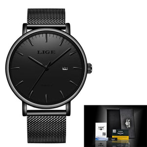 LIGE  Fashion Simple Stainless Steel Dial Date Thin Luxury Casual Waterproof Quartz  Watch For Men
