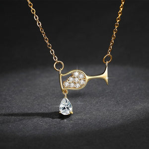 Wine Glass Pendant Necklace Women zircon Luxury Necklace