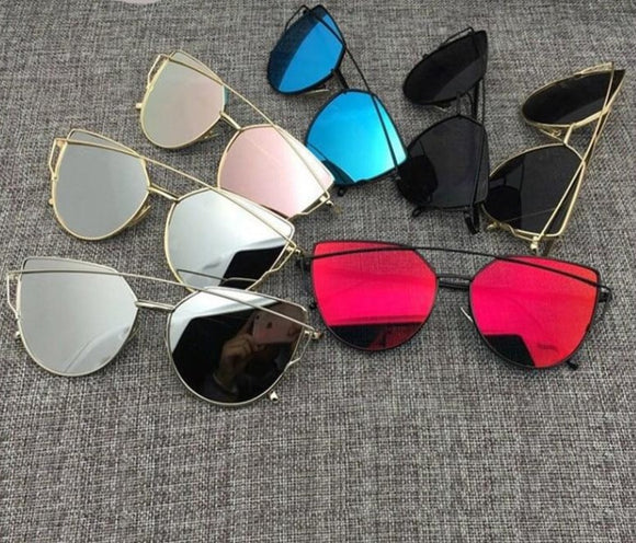 Vintage Metal Reflective Glasses Women's  Cat eye Sunglasses