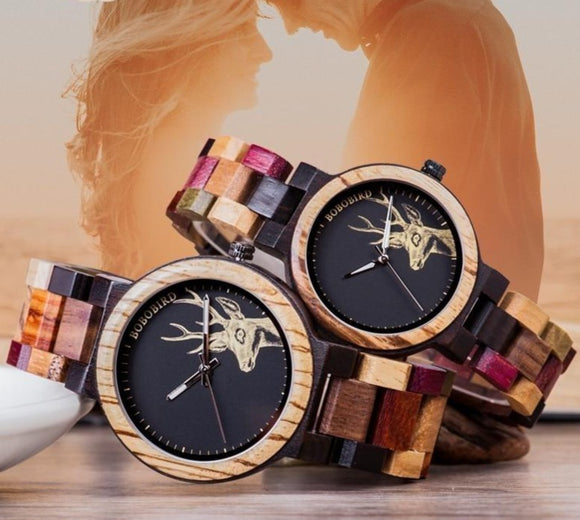 BOBO BIRD Quartz Engraving Wooden Women men lovers couple Watches in Wood Box