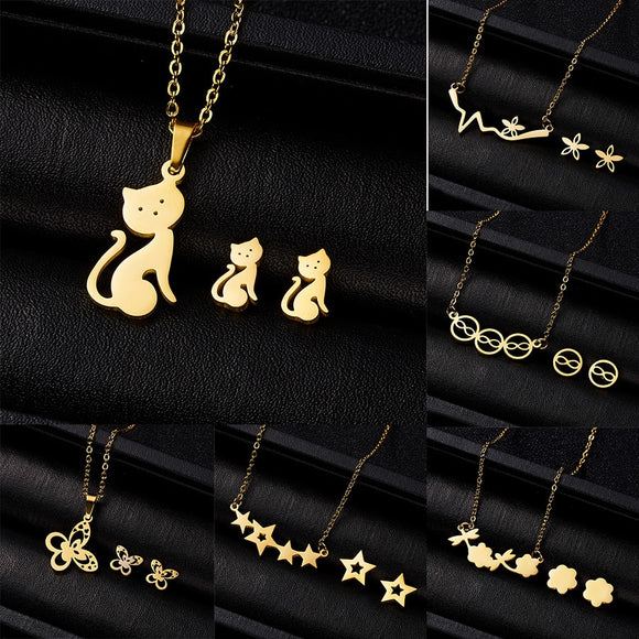 Cute Cat Butterfly  8 Stars Heart Pendant Jewelry Set Necklace Earrings Set