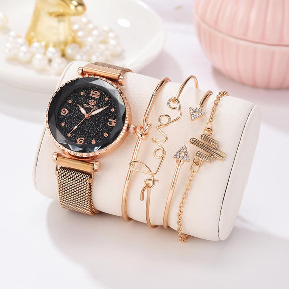 5pc/set Luxury Brand  Starry Sky Magnet  Buckle Fashion Casual Female Wristwatch