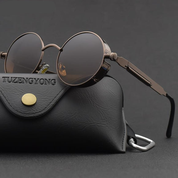 Classic Gothic Steampunk  Polarized Vintage Round Metal Frame SunGlasses