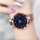 Women Starry Sky Watch Luxury Magnetic Buckle Mesh Band Quartz Diamond Wristwatch