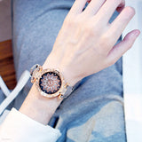 Starry Sky Ladies Bracelet Watch Casual Leather Quartz Wristwatch set