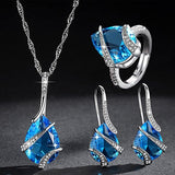 women Water drop  cubic zirconia necklace earrings ring sets