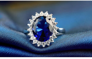 Princess Diana William Kate style Blue Sapphire Silver jewelry Ring For Woman