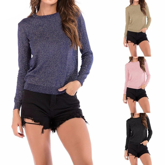 Womail  Knit Long Sleeve Round Neck Casual Solid Color Thin Women's Sweaters