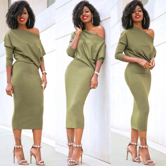 Casual Long Sleeve Off Shoulder Pencil  Evening Party Dress Solid Black Green
