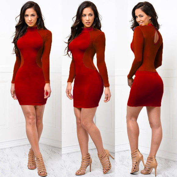 See Through Mesh Bandage Long Sleeve Women  club style dress