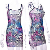 Skinny Evening Party See-through Print Short Mini Dress Erotic  Night CLUB Wear
