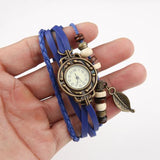 Butterfly Leaf Fashion Faux Leather band Bracelet watch