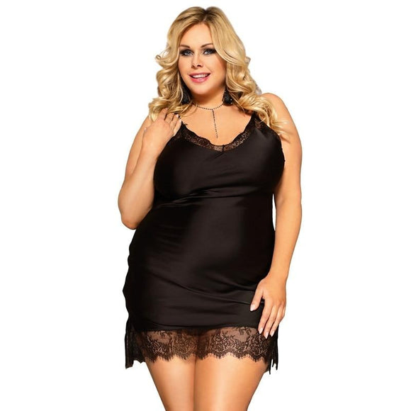Women Nightgowns  Silk Satin Lace Lingerie  Plus Size  Loose Strap Night Dress