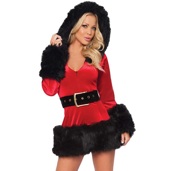 Fashion Women Christmas Short Mini Dress Winter Hooded Dress
