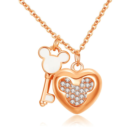 Women Girls Love Heart Micky Key Pendant Necklace Chain