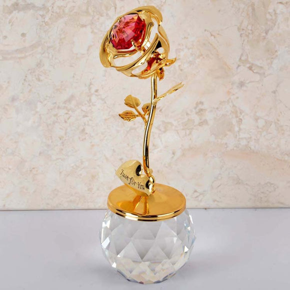 Plating 24K Gold Rose Crystal Base Glass Dome Decoration