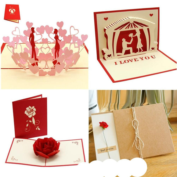 3D Pop UP Cards Valentines Day Gift Postcard Love Card