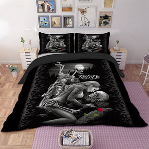 3D skull beauty kiss rose Bedding set polyester Duvet Cover Bed Set