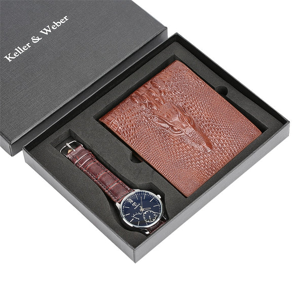 Men Watch and Brown Leather Wallet Gift Set