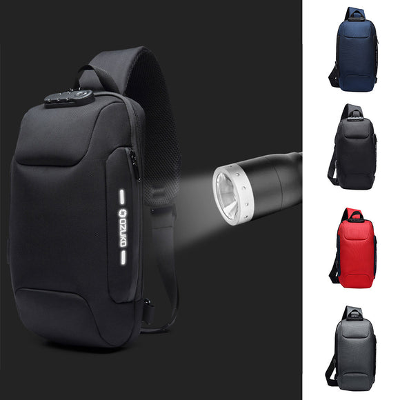 OZUKO Multi-function Cross body  Anti-theft   Waterproof  men's backpack
