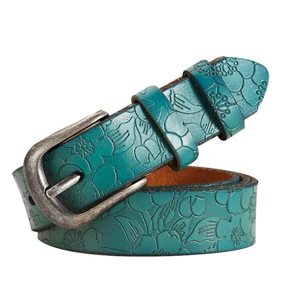 Thin Genuine Leather  6 Color Floral carved Belts For Women