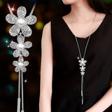 Women Pendant Flower Necklace Female Long Winter Sweater Chain