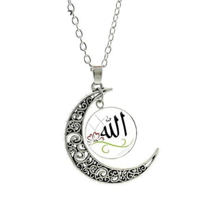 Islamic Muslims Allah Pattern Moon Fashion Women Men Necklace