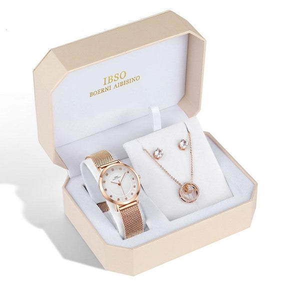 Women Rose Gold Watch Earring Necklace  Female Jewelry Set