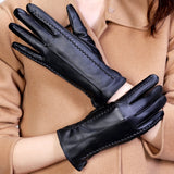 Elegant Women Lambskin Leather Thermal Hot Female Glove