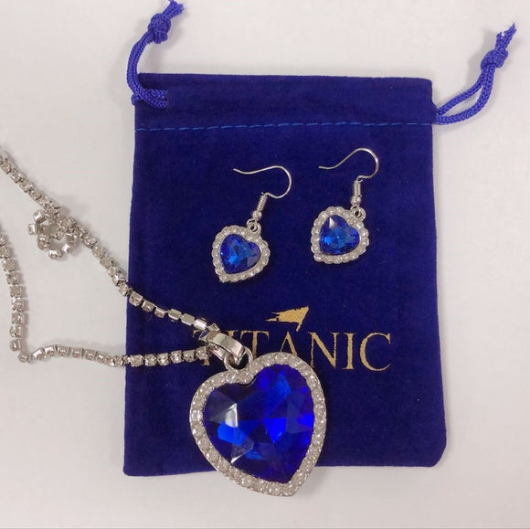 Titanic Heart of Ocean Pendant Necklace with Titanic Earrings plus Velvet Bag
