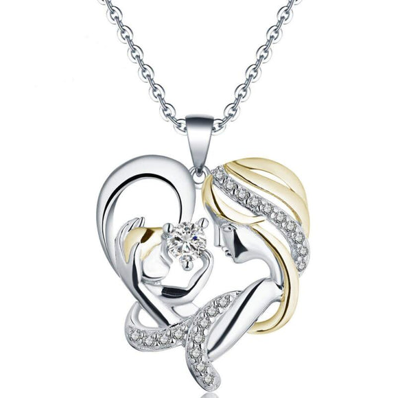 Mom's love,  heart-shaped zircon necklace mom and baby