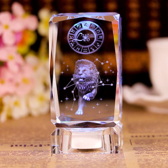 3D Zodiac Sign Star Crystal Cube Laser Engraved Glass Block