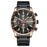 Black Gold Men Fashion Quartz Sports Stainless Steel Male Watch