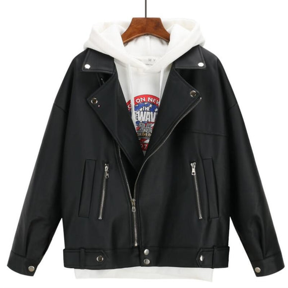 Women Autumn Winter Leather Jacket Oversized  Female  Coat Outwear