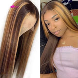 Highlight Colored women Hair Wigs  Lace Front Human Hair Wig