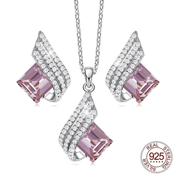 Women Silver 925 Pink Zircon Pendant Necklace Earrings Set