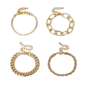 4Pcs/Set  Chunky Thick  Bracelets Bangles Punk Metal Rope Chain Bracelet