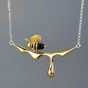 Lotus Fun  Gold Bee and Dripping Honey Pendant Necklace