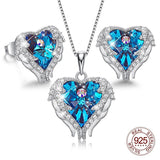 women 925 Sterling Silver Necklace Earrings Set with Crystal