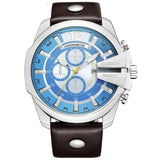 Casual Sports Modern Design Quartz Genuine Leather Strap men Watch