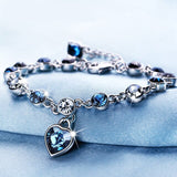 White/blue Crystal Zircon Women Romantic  Heart Bracelet
