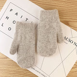 Double-layer rabbit hair female all fingers winter women gloves