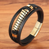 Cross Style Multi Layer  Stainless Steel Men's Leather Bracelet