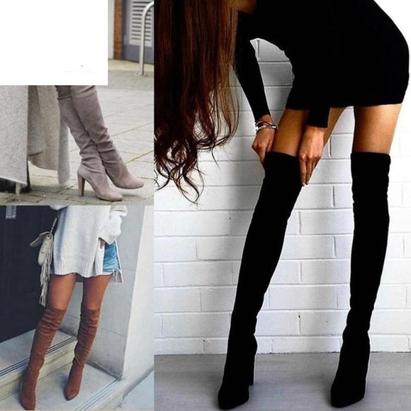 Flock Leather  Over The Knee Lace Up  High Heels  Woman Shoes Winter Boots