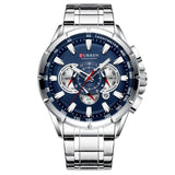 Causal Sport Chronograph Men's Watch Stainless Steel Band Wristwatch